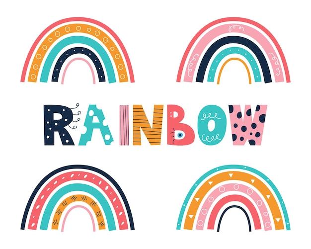A set of colorful rainbows with a doodlestyle inscription on a white background