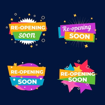 Set of colorful re-opening soon badges