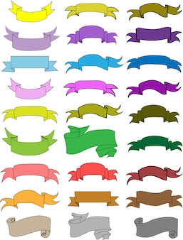 Set of colorful retro ribbons isolated on white