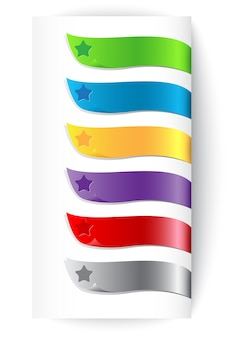Set of colorful ribbons with star
