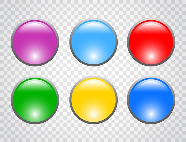 Set of colorful round buttons