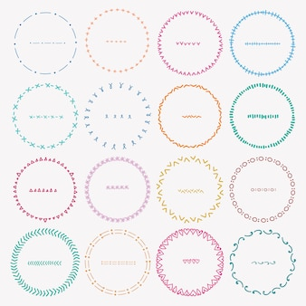 Set of colorful round frames
