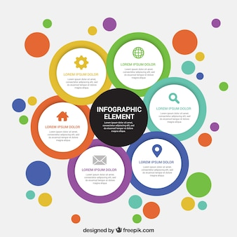 Set of colorful round infographic elements