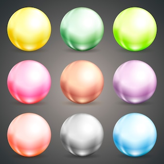 Set of colorful round vector spheres  baubles or balls in pastel colors