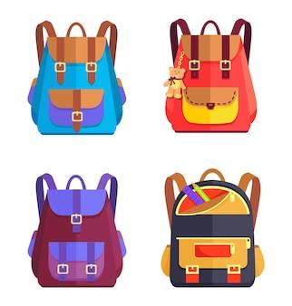 Set of colorful rucksacks
