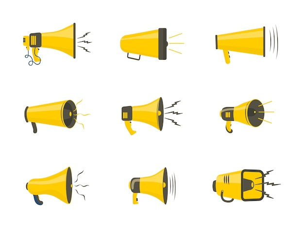 Set of colorful rupor in flat design. loudspeaker, megaphone, icon or symbol isolated on white background. concept for social networks, promotion and advertising.