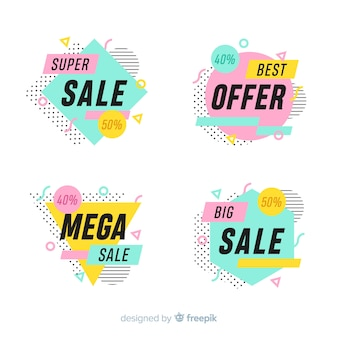 Set of colorful sale banners in memphis style
