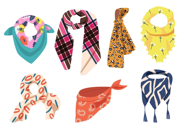 Set of colorful scarves isolated on white background. different kerchiefs, shawls, textile accessories for cold weather