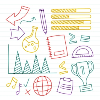 Set of colorful school infographic elements