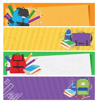 Set of colorful schoolbags banner