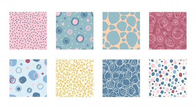 Set colorful seamless pattern marker and ink with circles dots texture