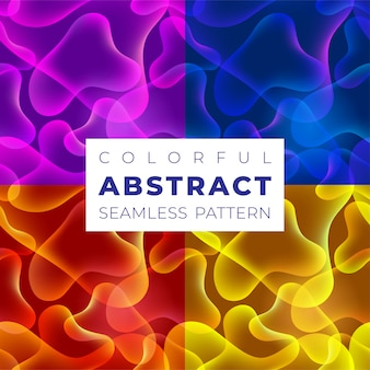 Set of  colorful seamless patterns. bright gradient colors with abstract fluid shapes.  pattern for background, wallpapers, web and print .