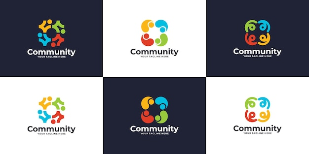 Set of colorful social group logo design
