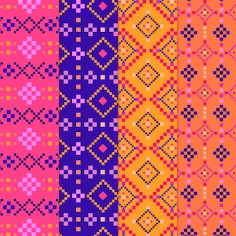 Set of colorful songket pattern