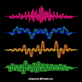 Set of colorful sound waves