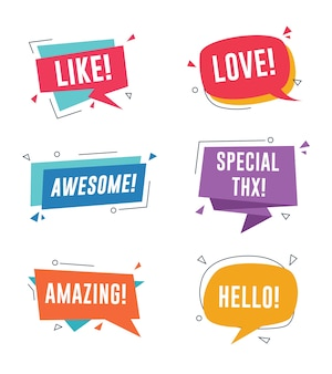 Set of colorful speech bubbles with messages