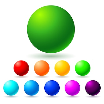 Set of colorful sphere balls