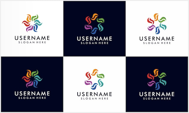 Set of colorful spiral and swirl motion logo design template, corporation logo collection