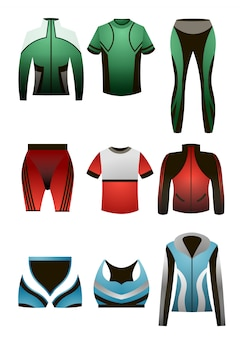 Set of colorful sport thermal clothes for men and women