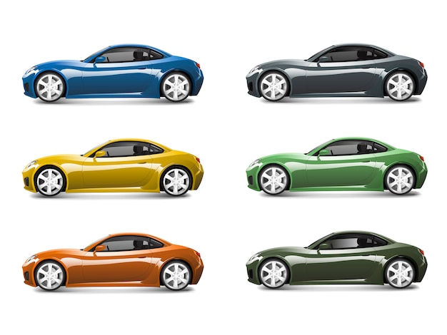 Set of colorful sports car vectors