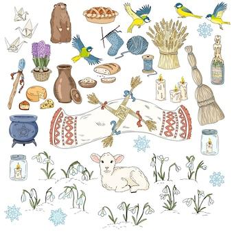 Set of colorful spring doodles