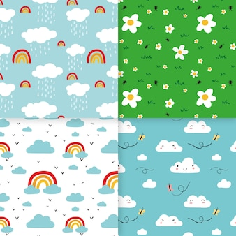 Set of colorful spring patterns