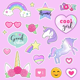 Set of colorful stickers with unicorns, rainbows, flowers and hand drawn lettering quotes