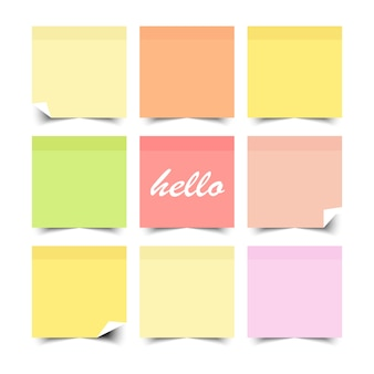 Set of colorful sticky notes with flat color design .  illustration.