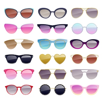 Set of colorful sunglasses icons. fashion glasses accessories.