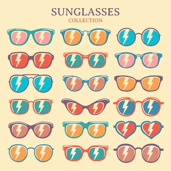 Set of colorful sunglasses vector illustration. retro vintage sunglasses