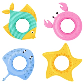Set of colorful swimming rings