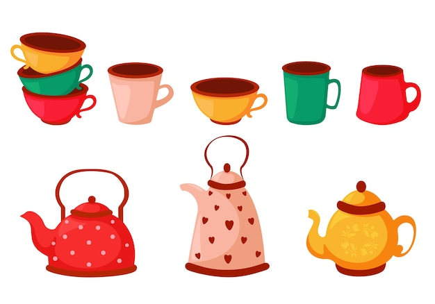 Set of colorful tea cups, coffee cups and kettles. dishes set.