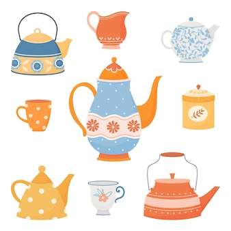 Set of colorful teapots and cups