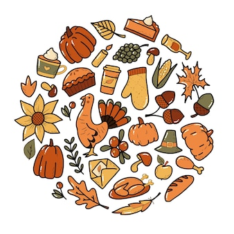Set of colorful thanksgiving doodles