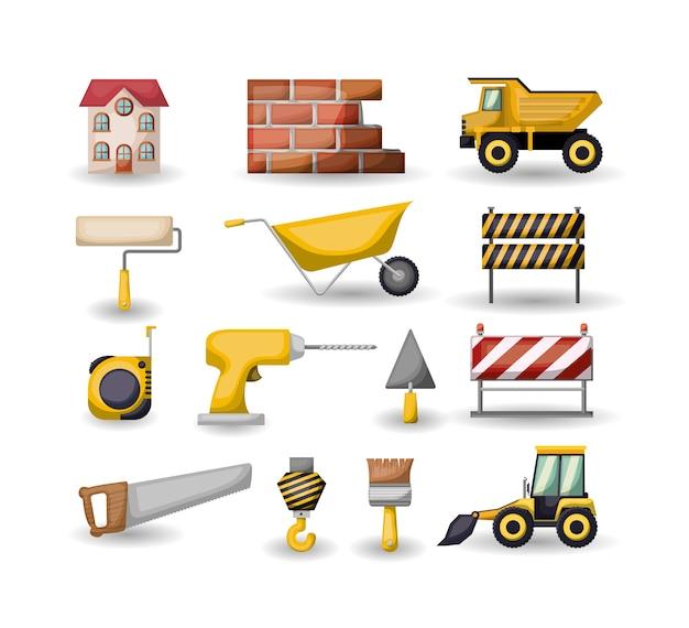 建設用カラフルなツールを設定する