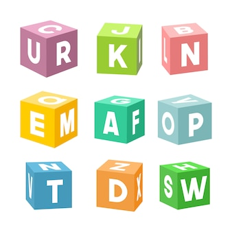 Set of colorful toy bricks with letters,