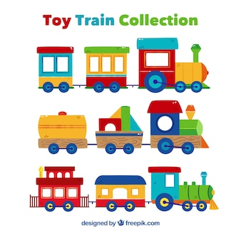 Set of colorful toy trains in flat design