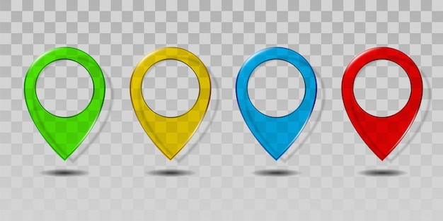 Set of colorful transparent glass map pointer icon.