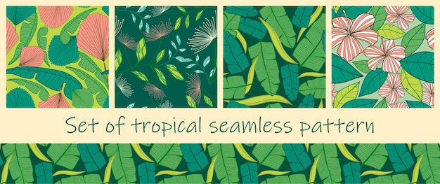 Set of colorful tropical exotic palm leaves seamless pattern