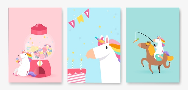 Set of colorful unicorn birthday card vectors