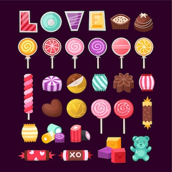 Set of colorful valentine sweets