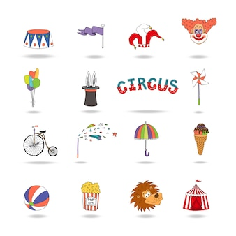 Set of colorful vector circus icons with a podium  flag  jokers hat