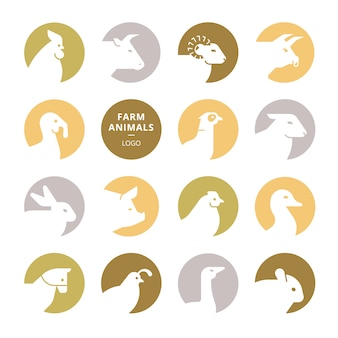 Set of colorful vector farm animal logos
