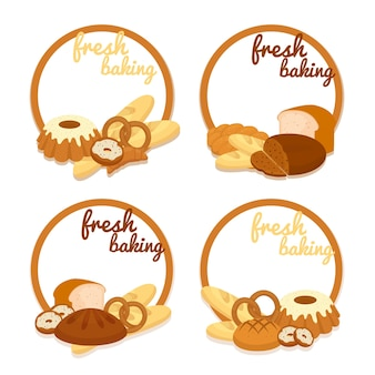 Set of colorful vector fresh baking price badges with round frames enclosing copyspace