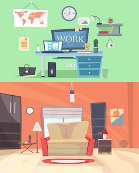 Set of colorful vector interior design house rooms with furniture icons: living room, bedroom. flat style vector illustration. home office