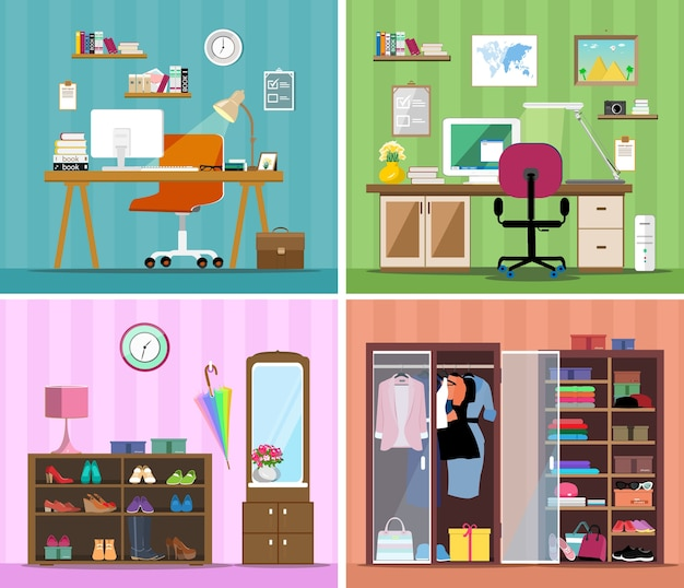 Set of colorful vectorworking place, modern home office, wardrobe with clothes, shoes and corridor.
