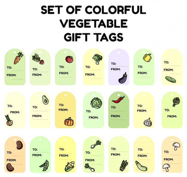 Set of colorful vegetable gift tags