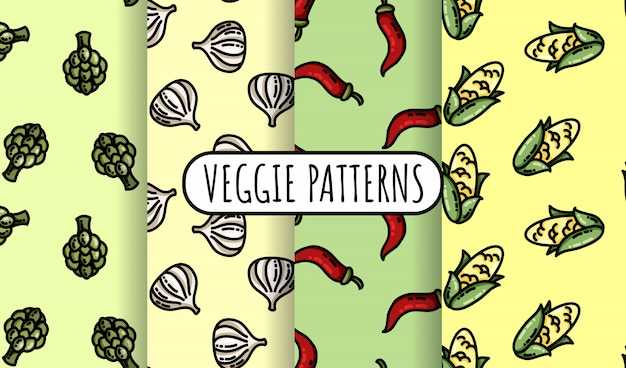 Set of colorful vegetables seamless patterns. flat design collection