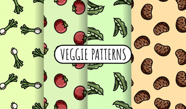 Set of colorful vegetables seamless patterns.