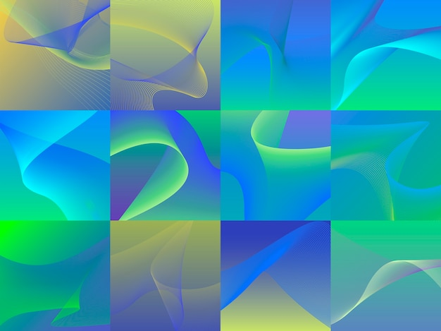 Set of colorful vibrant 3d wave graphics